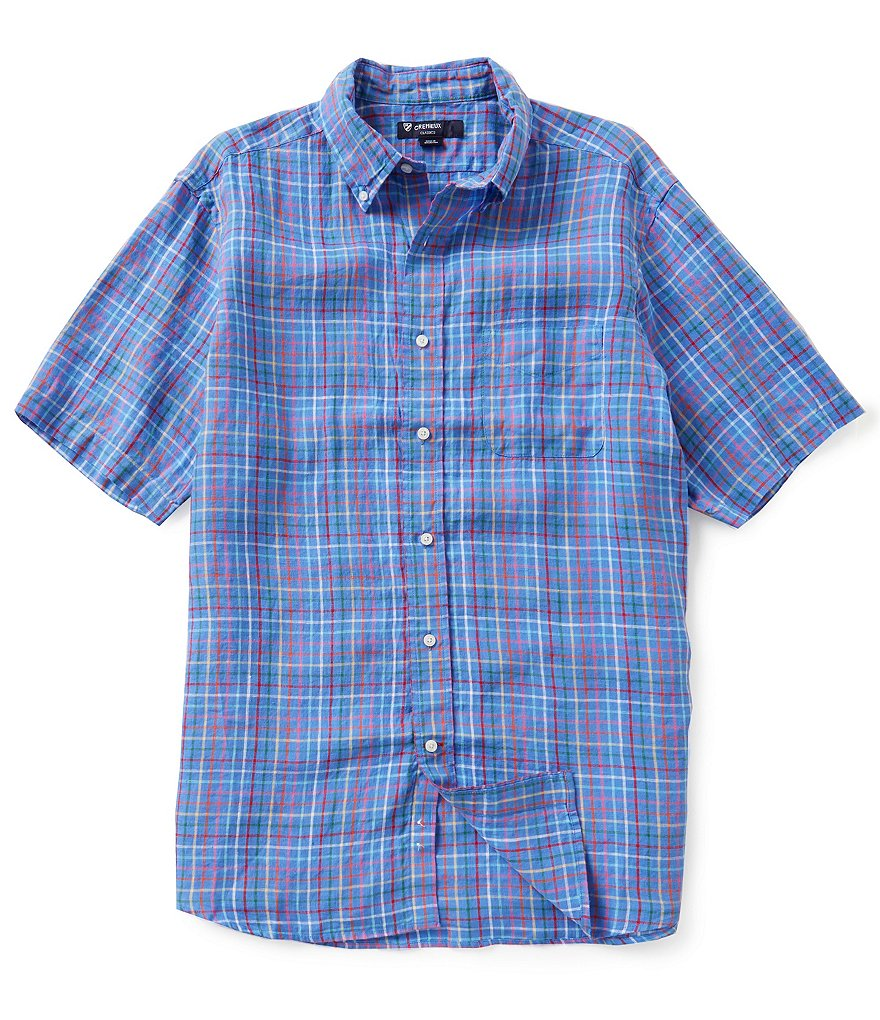 Cremieux Short-Sleeve Graph Check Linen Woven Shirt