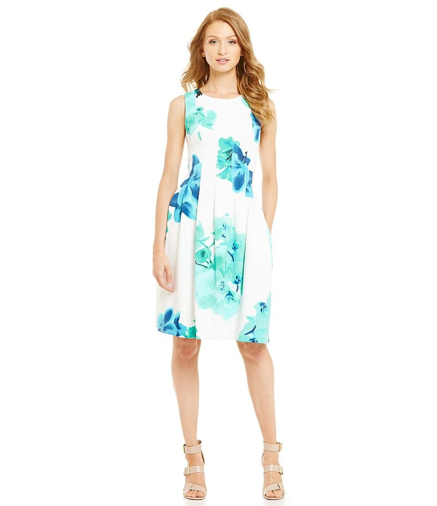 Calvin Klein Floral Fit-and-Flare Sheath Dress
