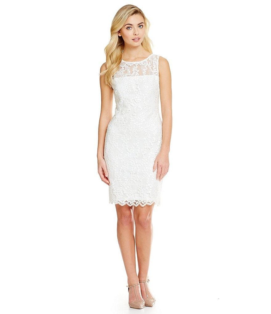 Calvin Klein Embroidered Sequin Mesh Dress