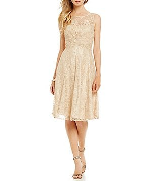Tahari ASL Scalloped Lace Neck Fit-and-Flare Dress