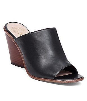 Vince Camuto Dormina Leather Slip On Peep-Toe Stacked Block Heel Mules