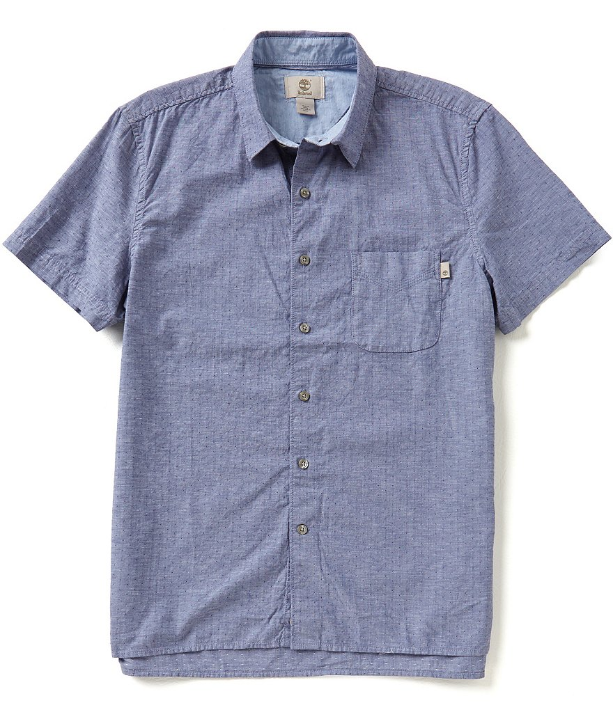 Timberland Short-Sleeve Slim-Fit Allendale River Chambray Woven Shirt