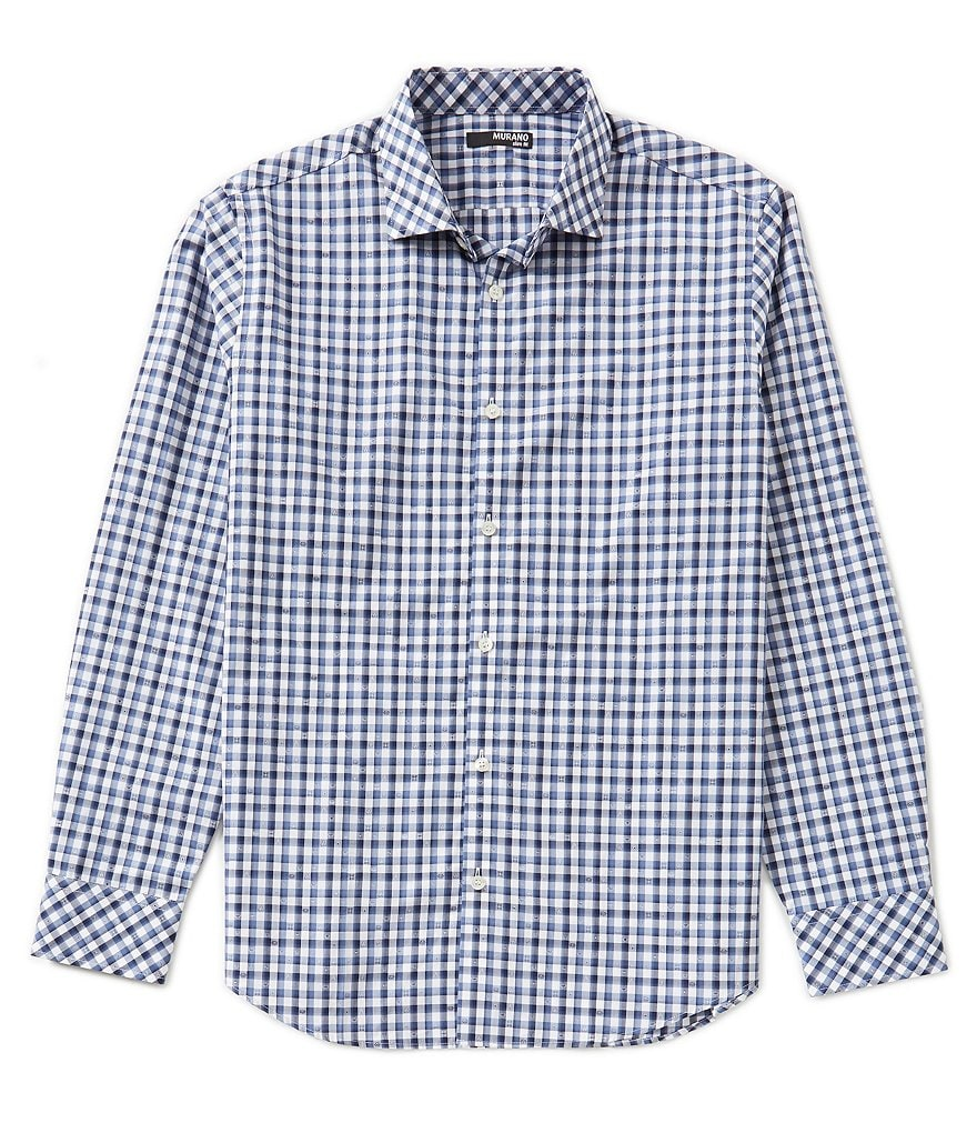 Murano Slim-Fit Long-Sleeve Gingham Jacquard Sportshirt