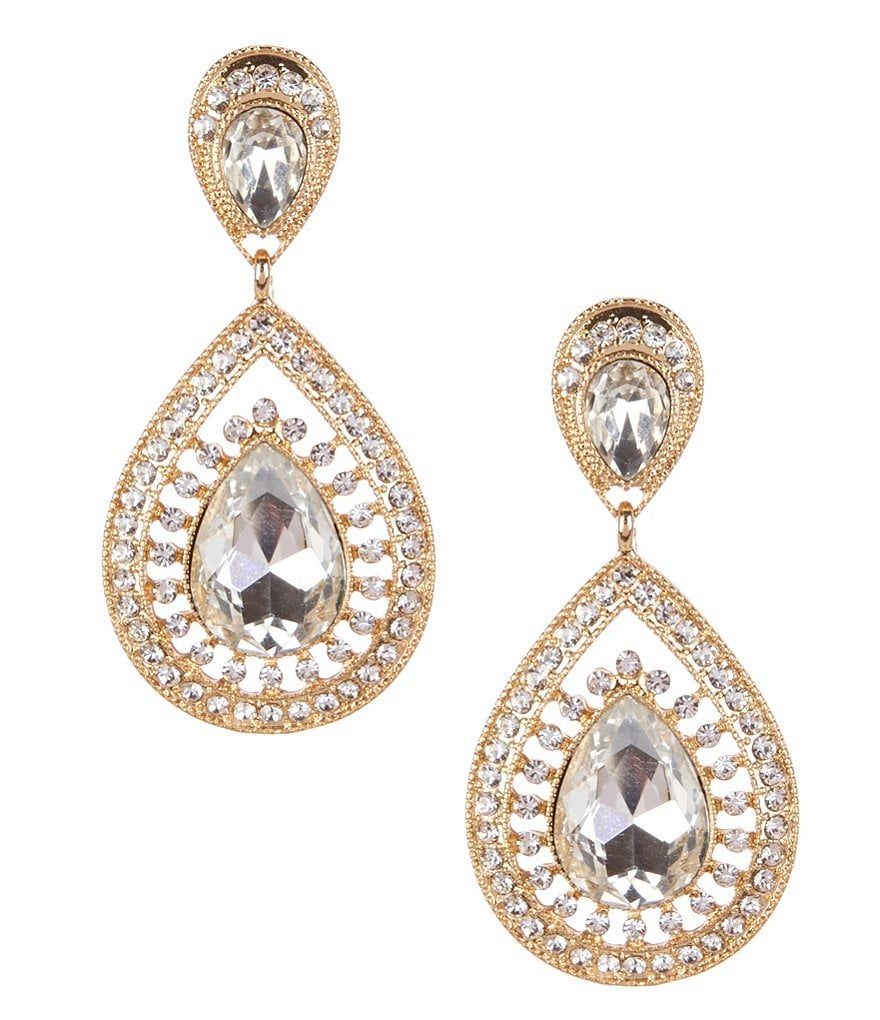 Natasha Accessories Double-Teardrop Statement Earrings