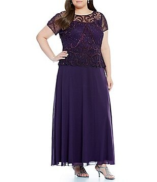 Pisarro Nights Plus Beaded Peplum Dress