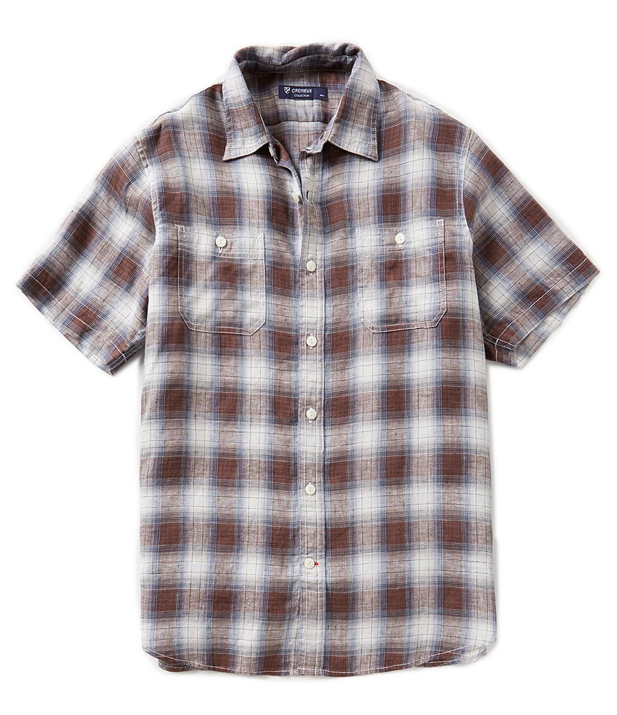 Cremieux Short-Sleeve Glen Plaid Woven Shirt