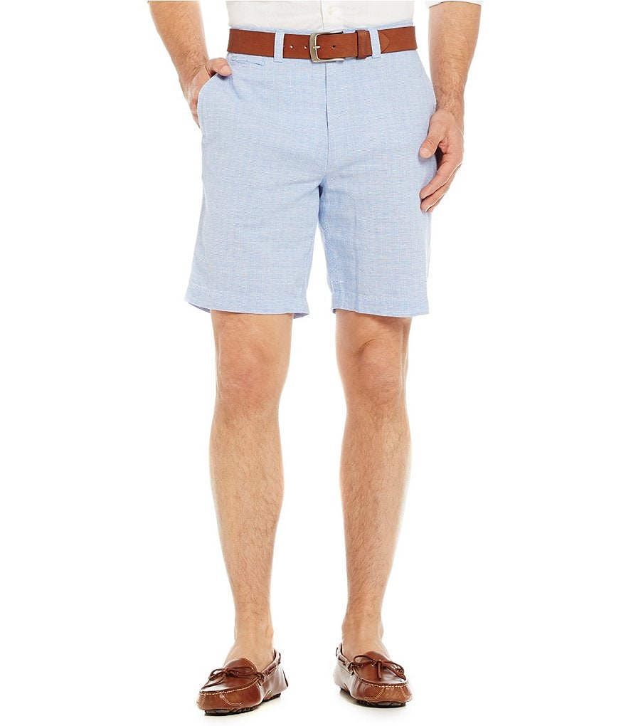 Cremieux Nantucket Linen Glen Flat-Front Plaid Shorts