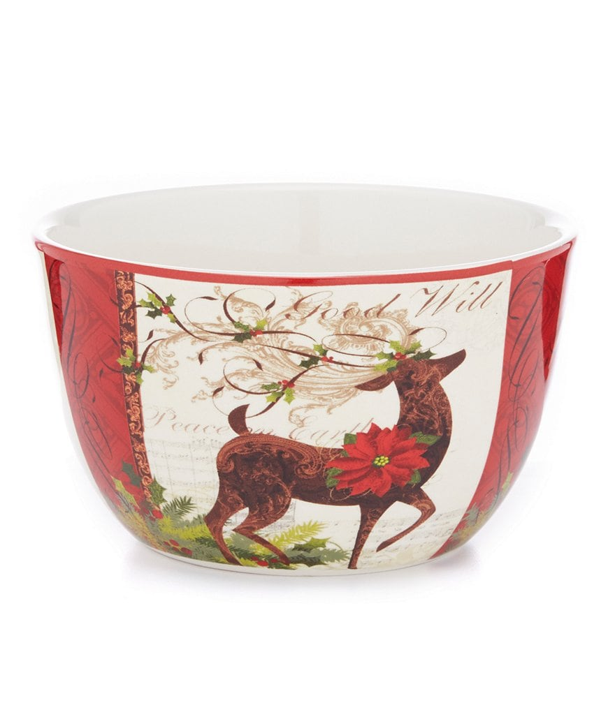 Certified International Winter Garden Reindeer Ice Cream Bowl