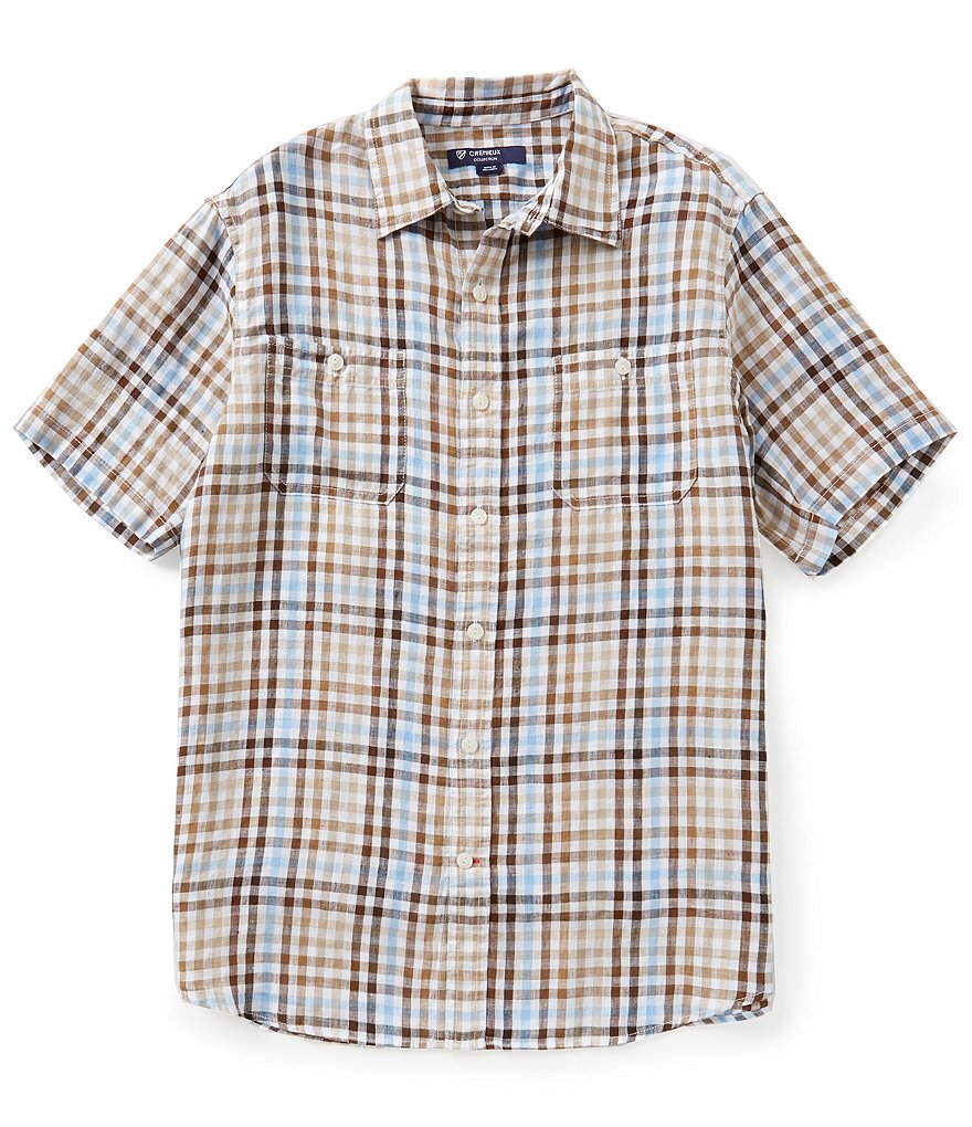 Cremieux Short-Sleeve Check Linen Woven Shirt