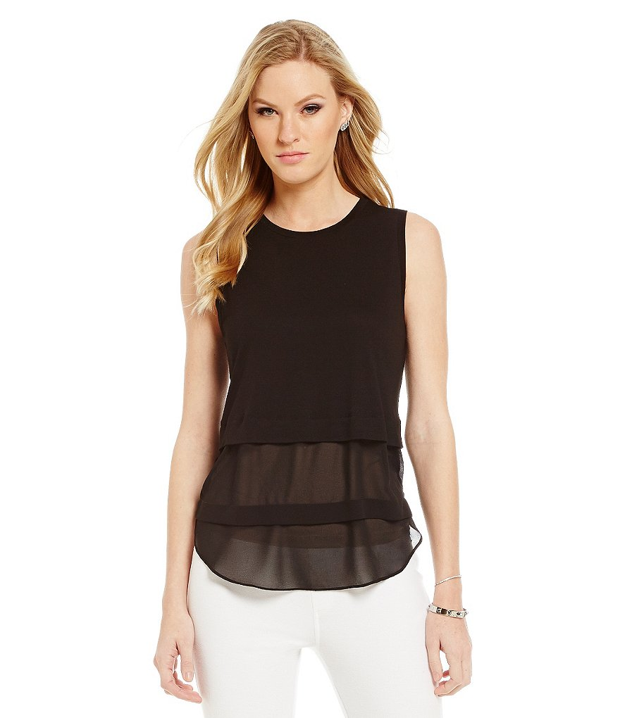 MICHAEL Michael Kors Layered Chiffon Hem Knit Jersey Top
