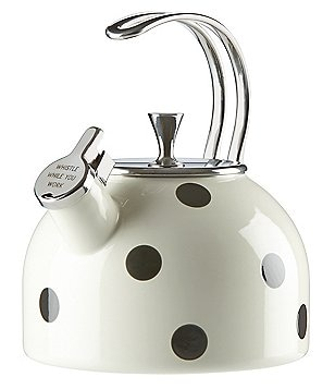kate spade new york All in Good Taste Deco Dot Whistle While You Work Enameled Steel Tea Kettle