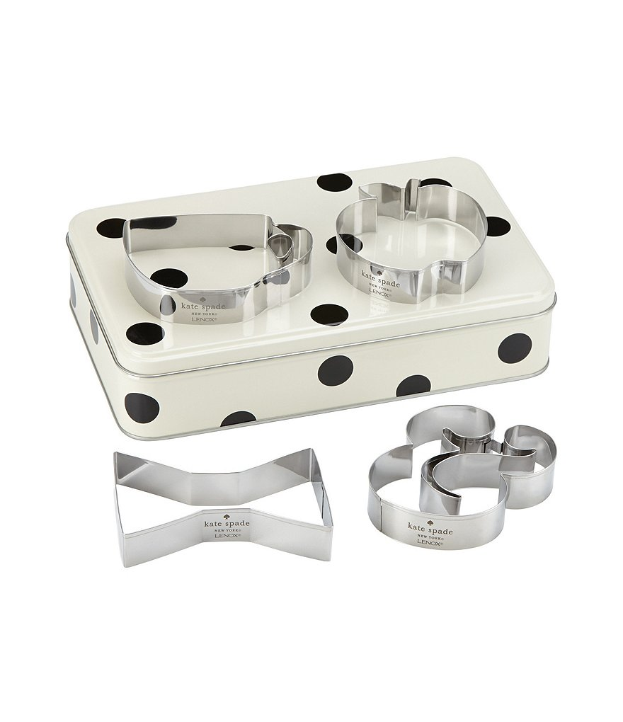kate spade new york All in Good Taste Aluminum Cookie Cutter & Dotted Storage Tin Set