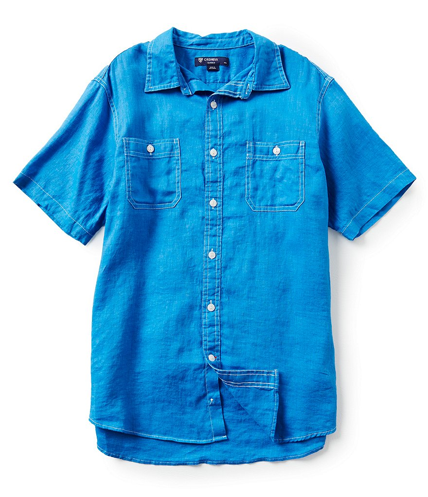 Cremieux Short-Sleeve Solid New Hunter Linen Woven Shirt