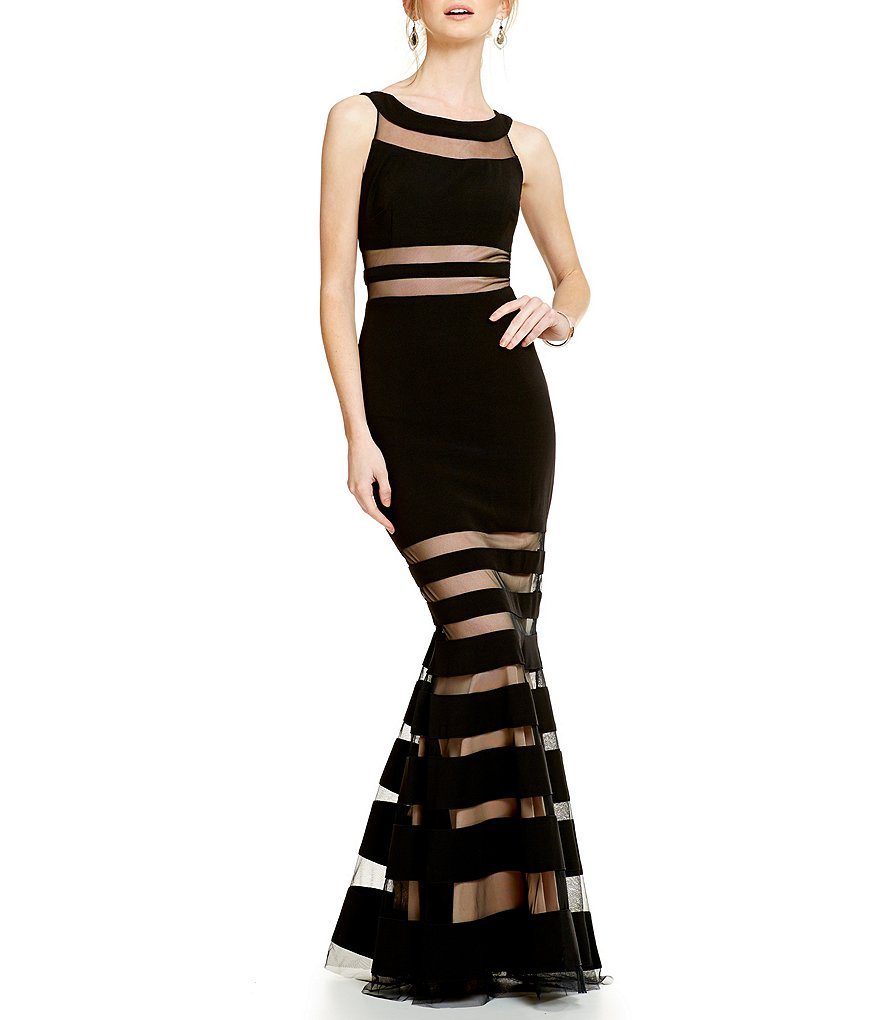 JS Collections Striped Illusion Cut-Out Mermaid Gown