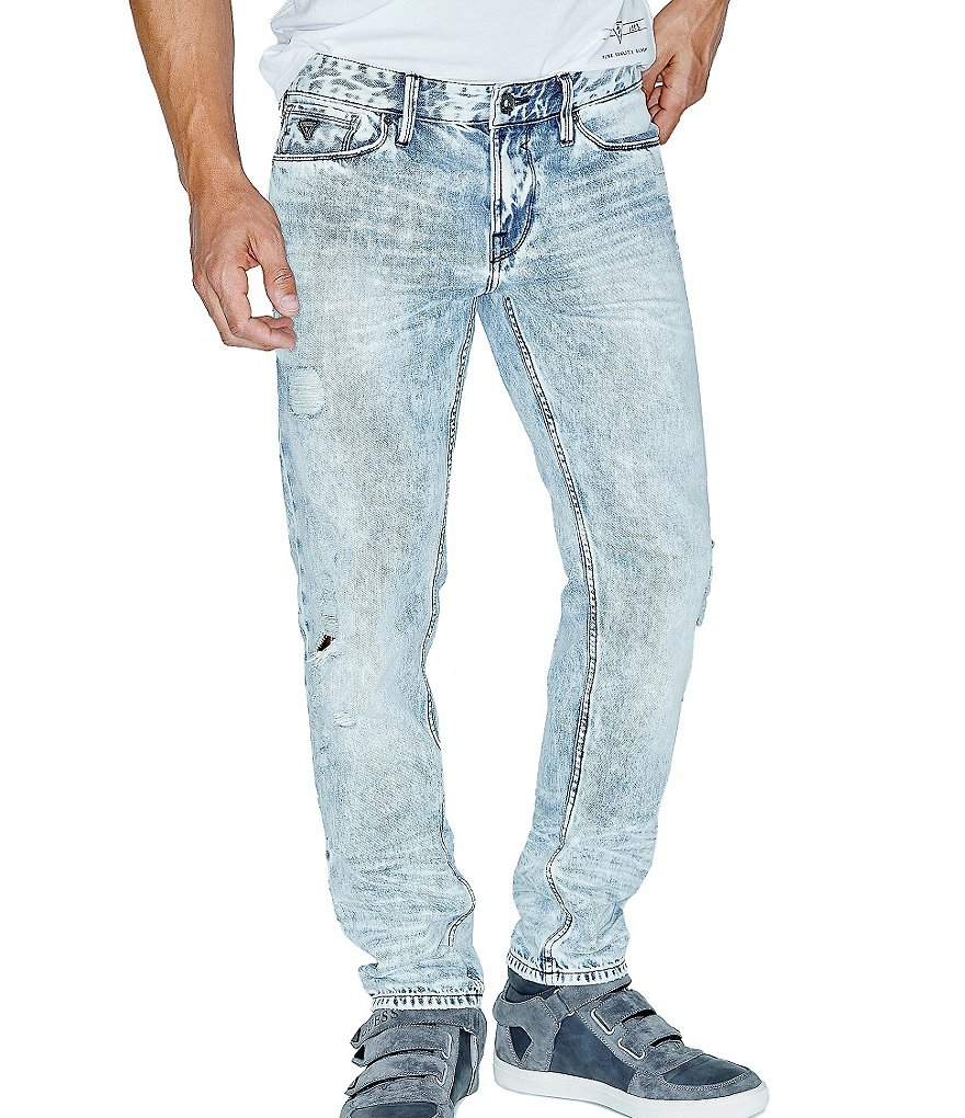 Guess Slim Tapered Acid Washed Jeans