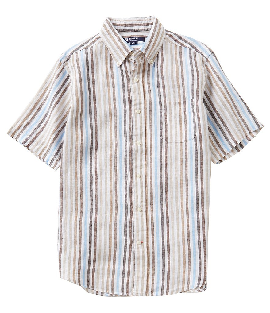 Cremieux Short-Sleeve Striped Woven Shirt
