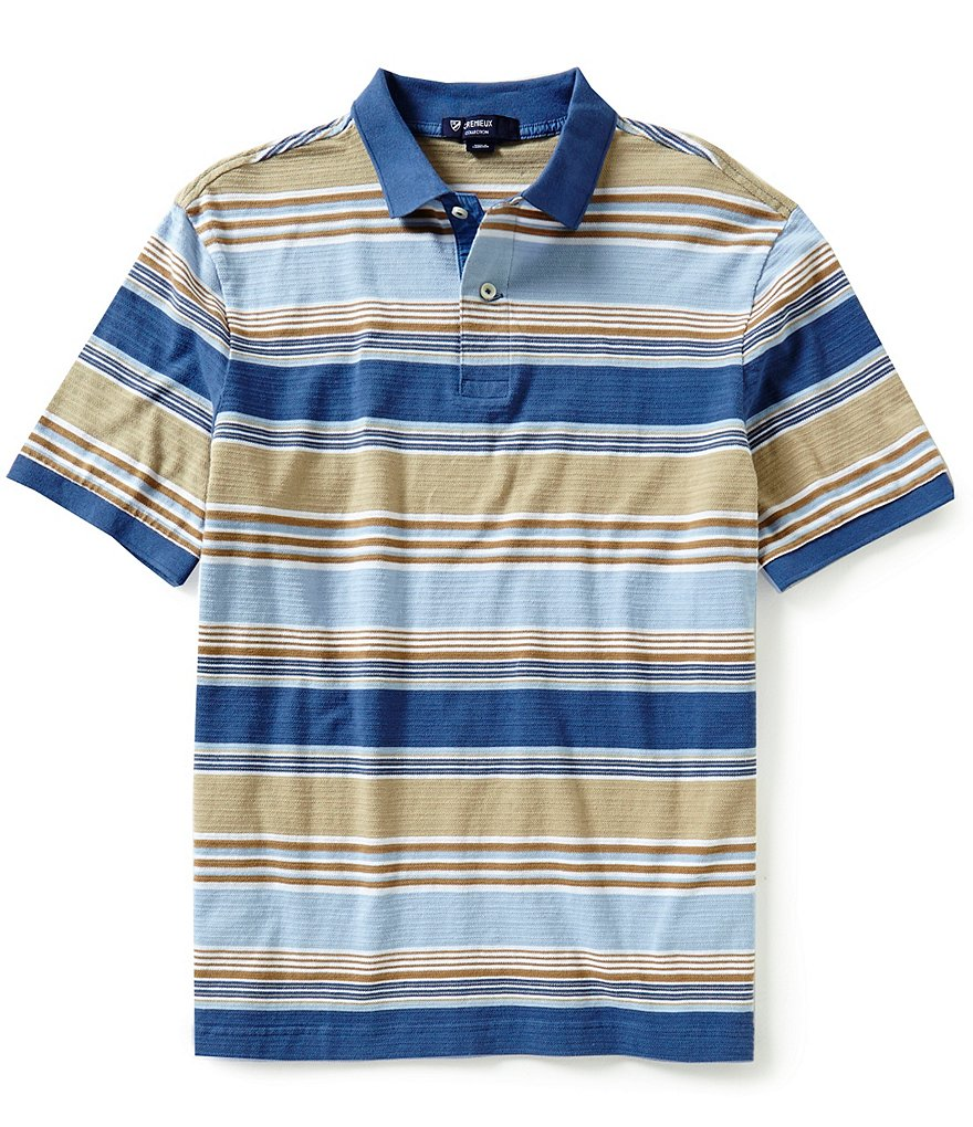 Cremieux Short-Sleeve Horizontal-Multi-Stripe Polo Shirt