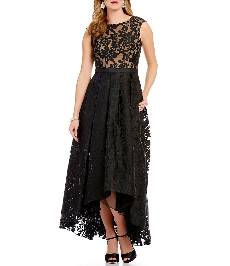 JS Collections Hi-Low Jacquard Gown