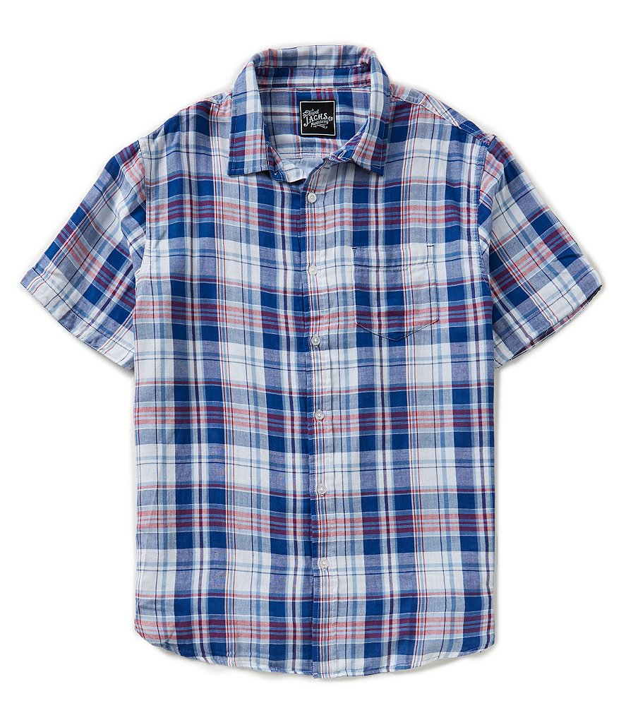 J.A.C.H.S. Manufacturing Co. Short-Sleeve Double Layer Plaid Sportshirt