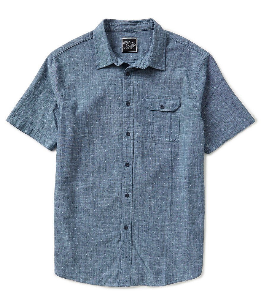 J.A.C.H.S. Manufacturing Co. Short-Sleeve Chambray Dobby Print Sportshirt