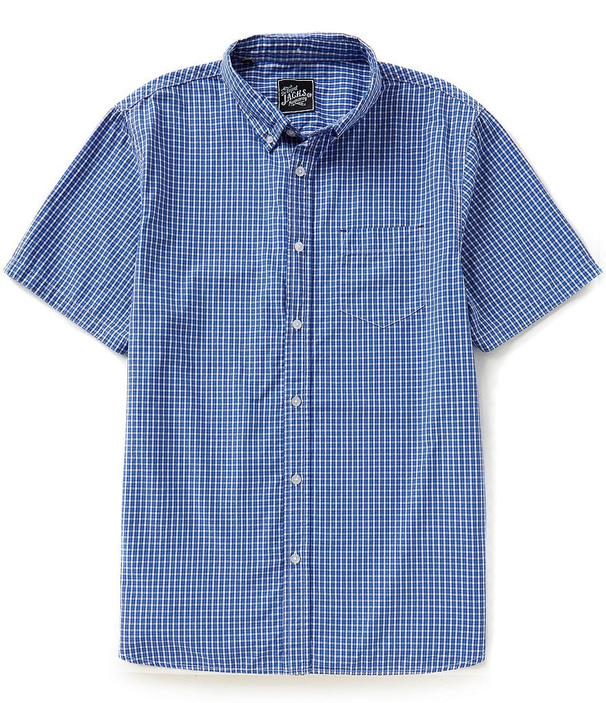 J.A.C.H.S. Manufacturing Co. Short-Sleeve Check Button-Down Collar Sportshirt