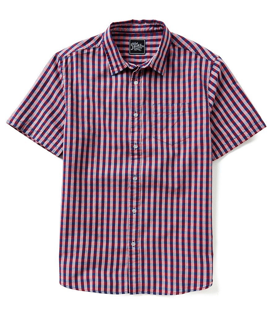 J.A.C.H.S. Manufacturing Co. Short-Sleeve Gingham Chambray Sportshirt