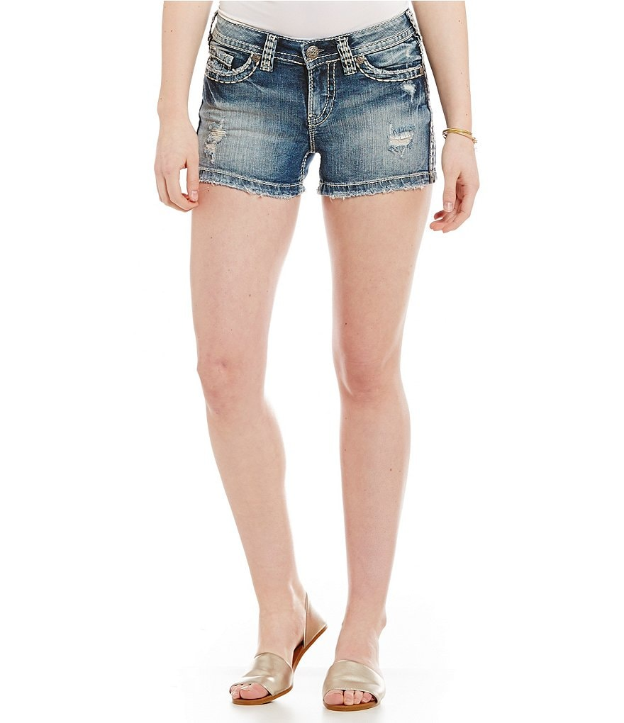 Silver Jeans Co. Aiko Mid-Rise Distressed Denim Shorts