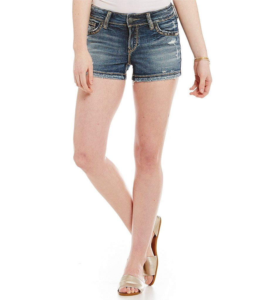 Silver Jeans Co. Suki Mid-Rise Distressed Denim Shorts