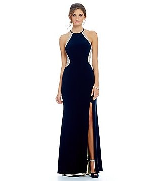 Xscape Halter Gown with Low Back