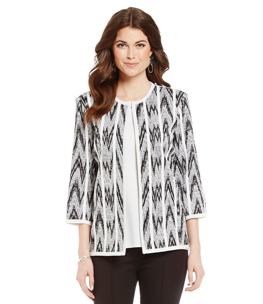 Misook Chevron-Print Jewel-Neck Jacket