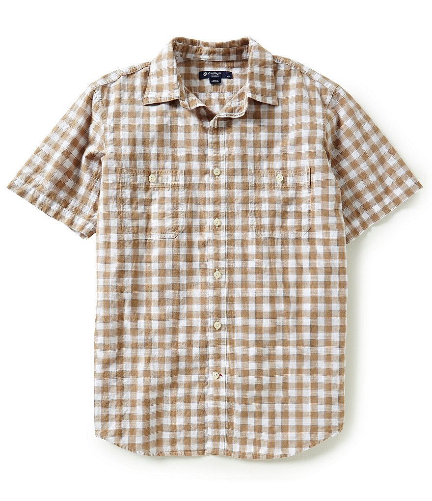 Cremieux Short-Sleeve Checked Poplin Slub Woven Shirt