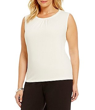 Tahari ASL Plus Twist Neck Solid Top