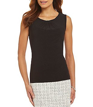 Tahari ASL Twist Neck Solid Top