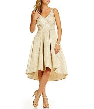 Eva Franco Zander Metallic Brocade Hi-Low Party Dress