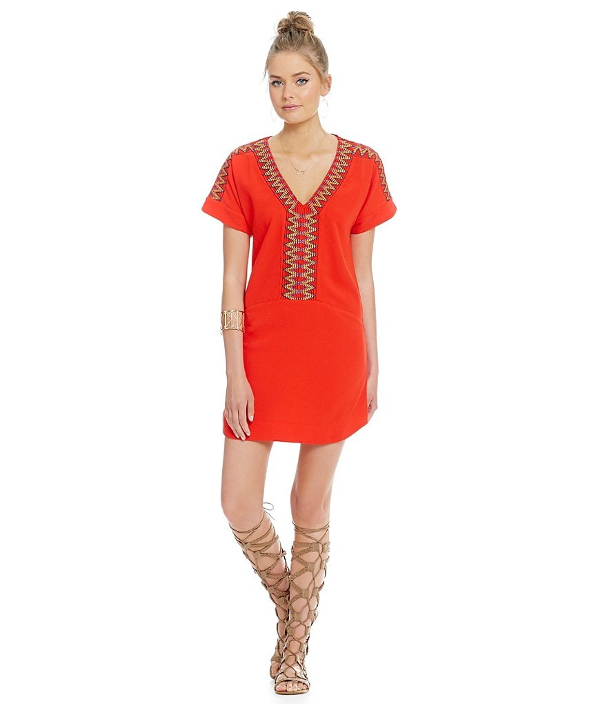 Sugarlips Tribal-Embroidered Short Sleeve Dress