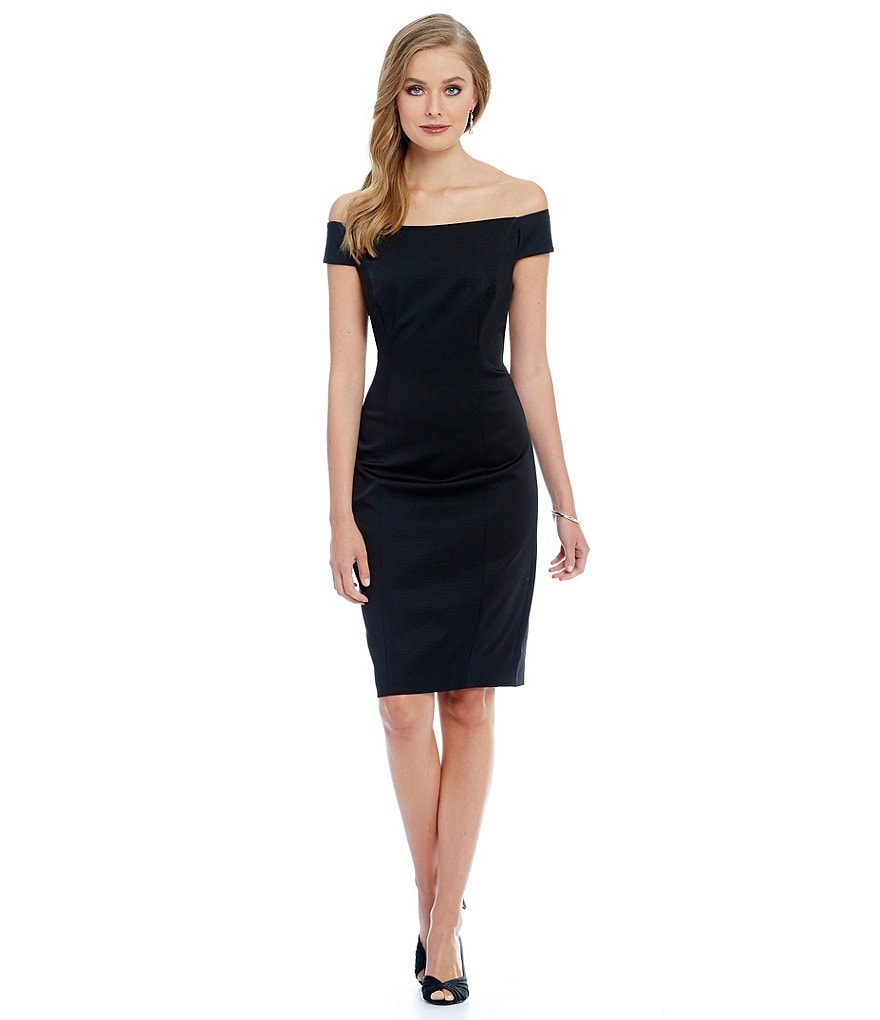 Adrianna Papell Off-the-Shoulder Ottoman Sheath Dress