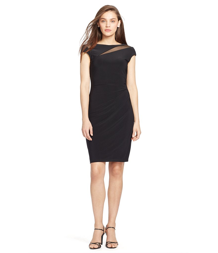 Lauren Ralph Lauren Mesh Cutout Neckline Sheath Dress