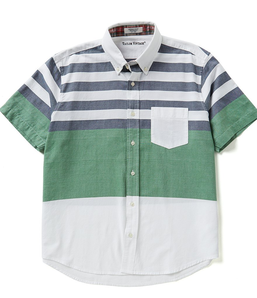 Tailor Vintage Striped Oxford Short-Sleeve Shirt