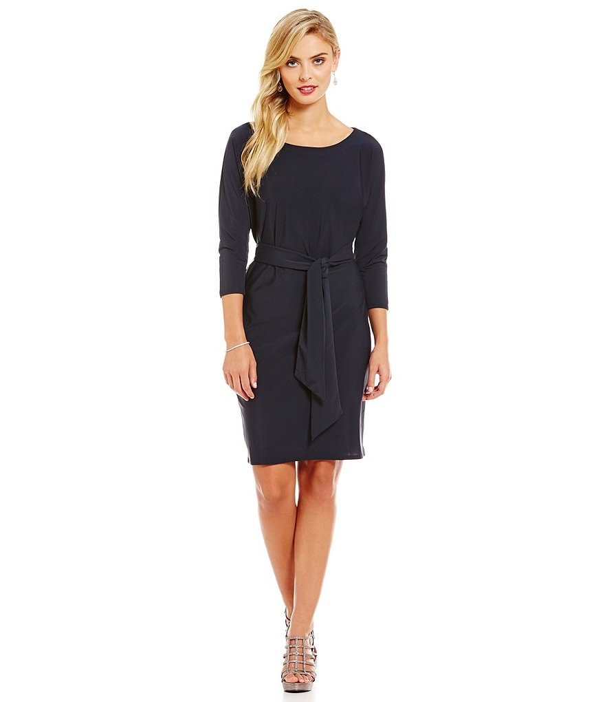 Adrianna Papell Wrap Belted Dolman Dress