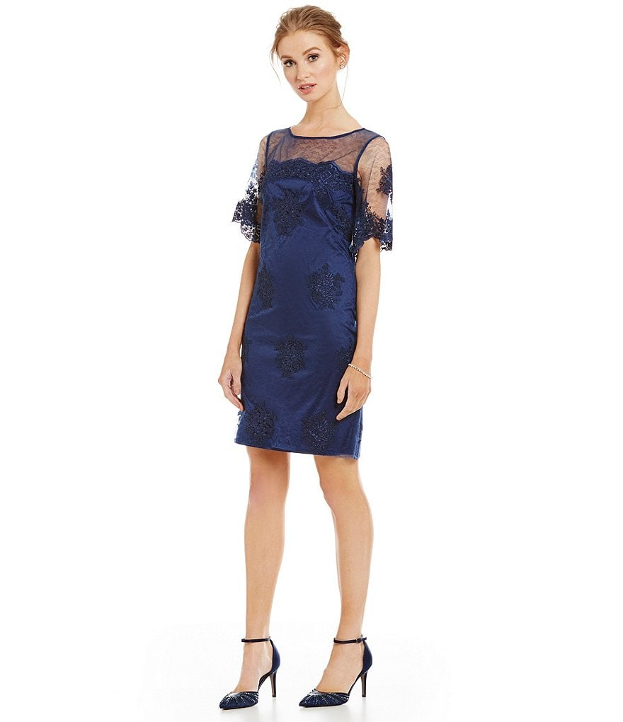 Adrianna Papell Border Lace Sheer Sleeve Shift Dress