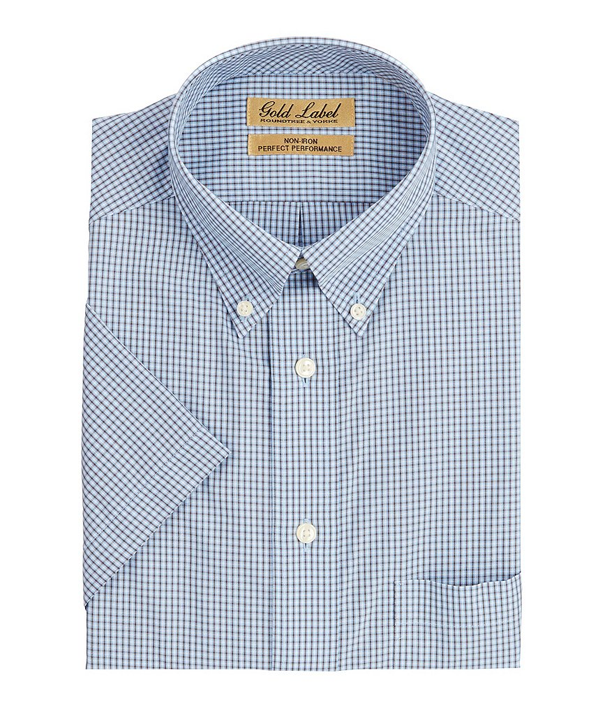 Gold Label Roundtree & Yorke Short Sleeve Check Buttondown Collar Woven Shirt