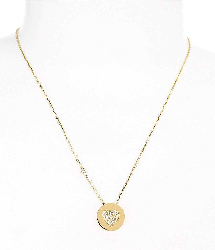 Michael Kors Pavé Heart Pendant Necklace