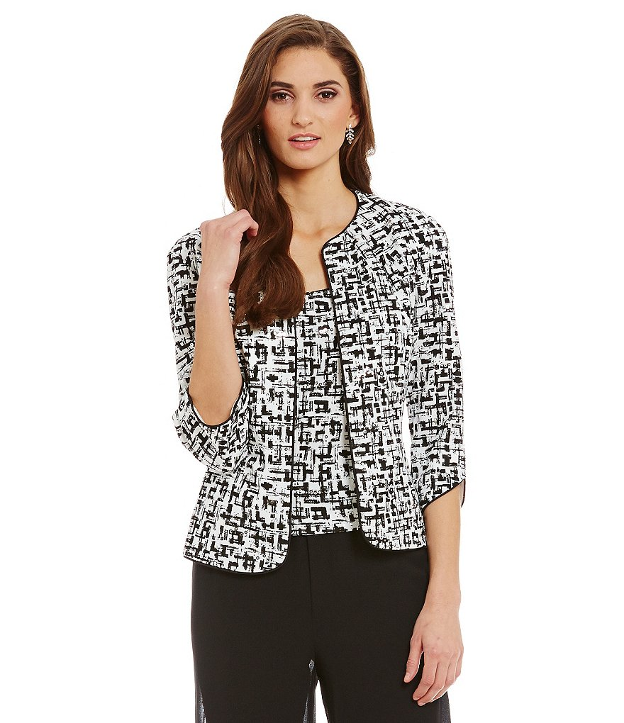 Alex Evenings Printed 3/4 Sleeve Twinset