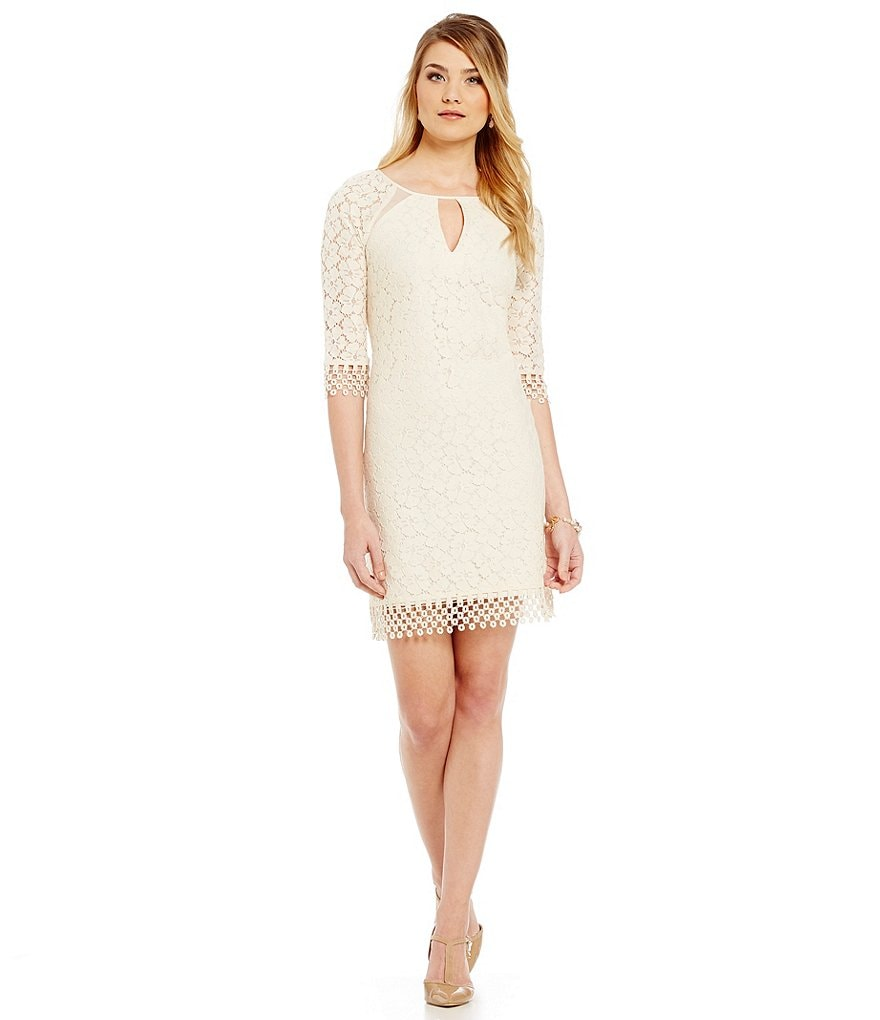 Adrianna Papell Split Neck White Lace Shift Dress