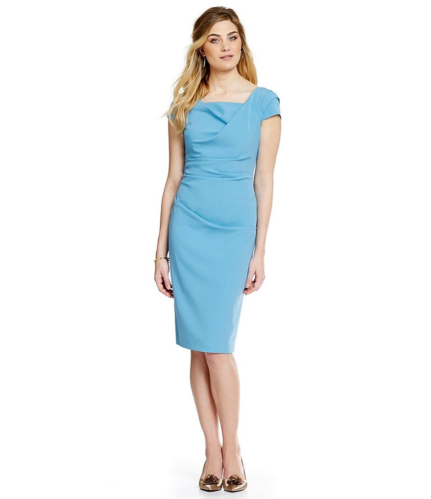 Cowl Neck Sheath Dresses: Adrianna Papell Cowl-Neck Ruched Sheath Dress
