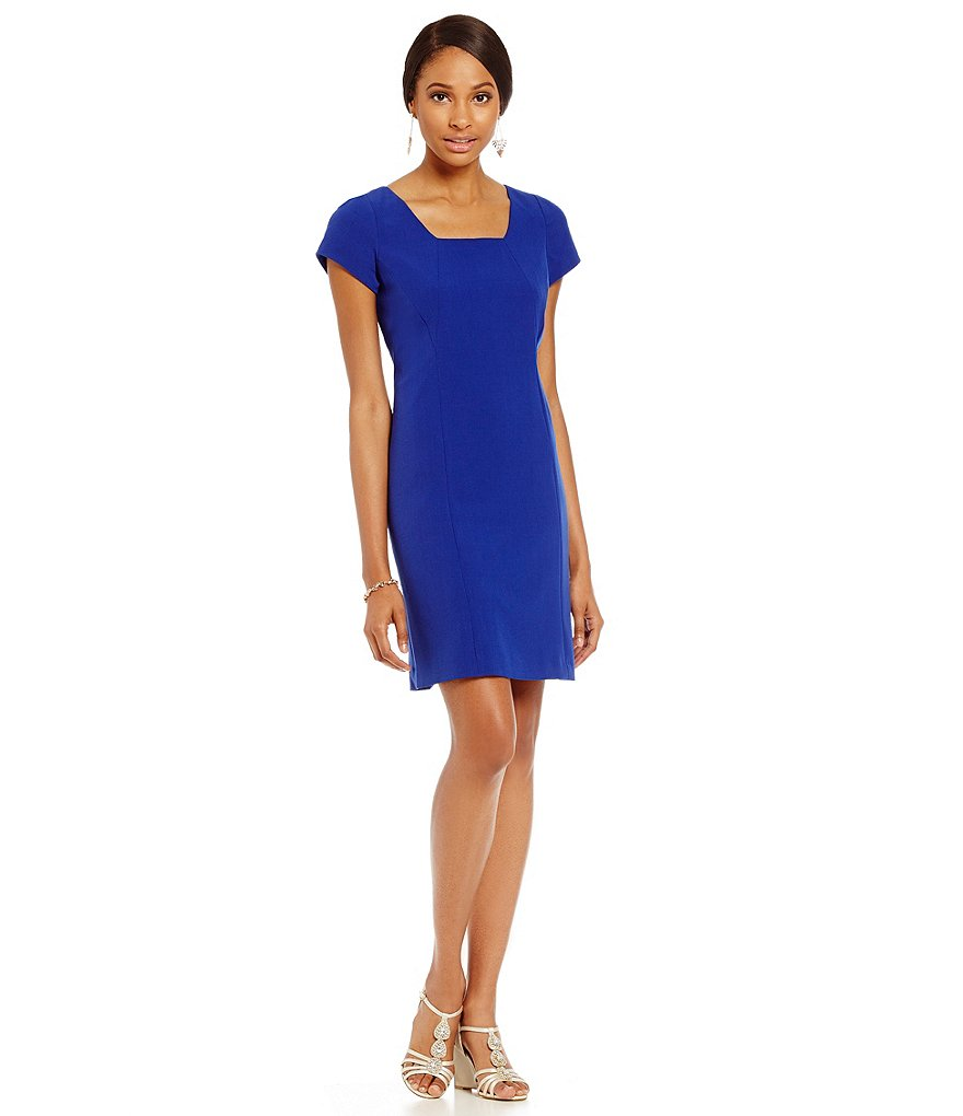 Adrianna Papell Square Neck Shift Dress
