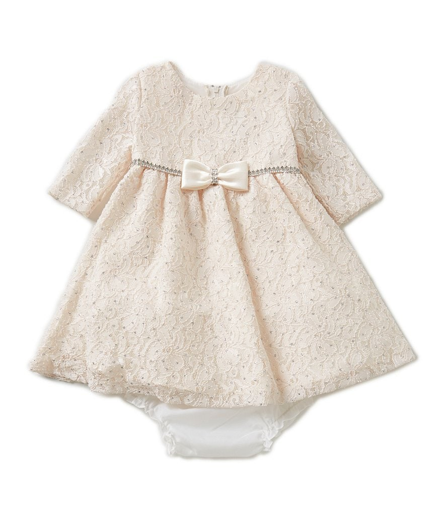 Rare Editions 3-24 Months Glitter Lace Christmas Dress