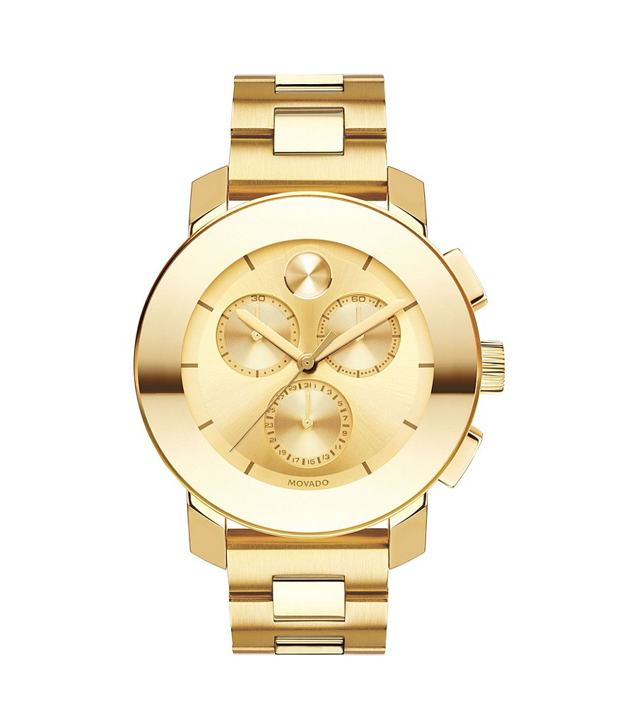 Movado Bold Iconic Goldtone Stainless Steel Chronograph Watch