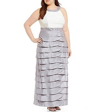 Jessica Howard Plus Beaded Tiered Empire Waist Gown
