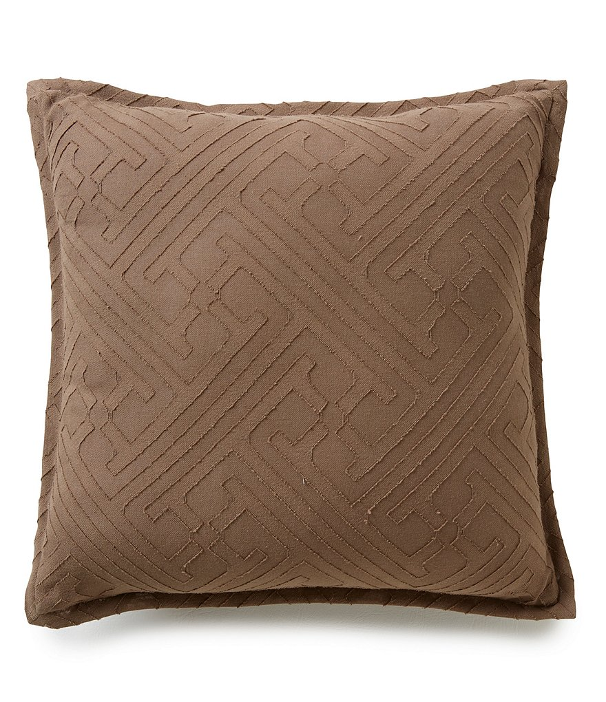Moderne by Noble Excellence Triton Tile Jacquard & Percale Voile Cotton Square Pillow